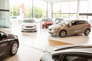 Cars in a show room