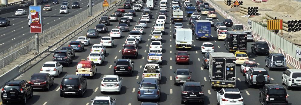 Dubai roads during peak hours