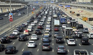 Dubai roads during peak hours