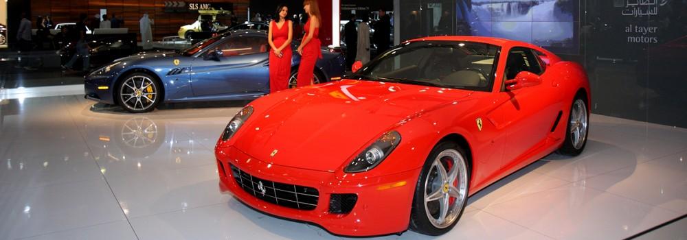 Red car in showroom