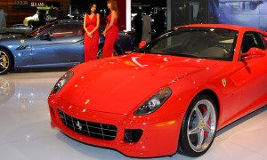 Red car in showroom