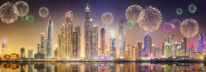A view of Dubai with fireworks