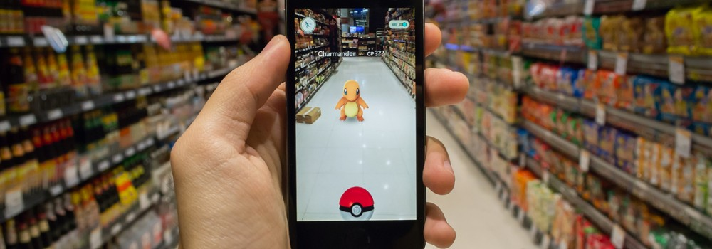 Playing Pokemon Go in a supermarket