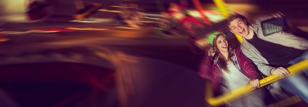 riding on merry go round in an amusement park save rendered