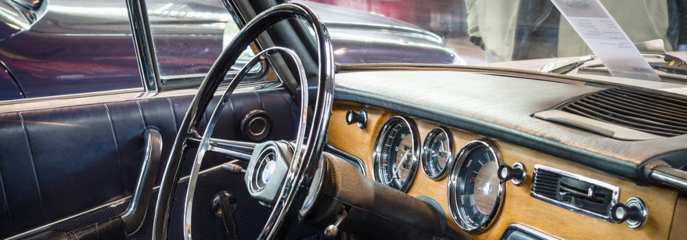 Cabin of vintage car