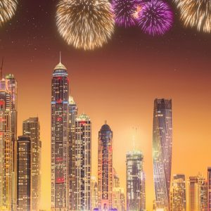 Dubai shopping festival fireworks rendered