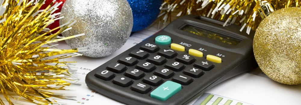 Holidays - pen, calculator, tinsel rendered