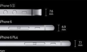 مقارنة سماكة iPhone5, iPhone6, iPhone6 Plus